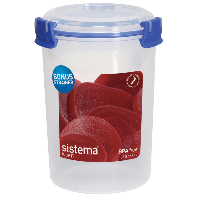 Sistema Klip It Round Plastic Container 1L, Blue