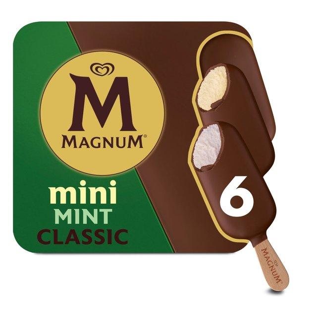 magnum mini ice cream classic mint amp dark 6 x 60ml from ocado