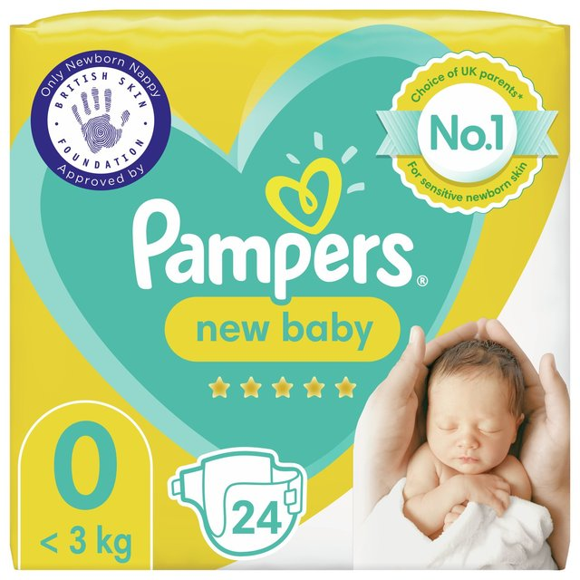 Pampers New Baby Nappies Size 0 Carry Pack 24 Per Pack