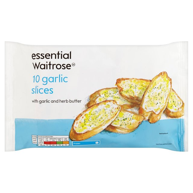 Essential Waitrose 10 Garlic Bread Slices Frozen