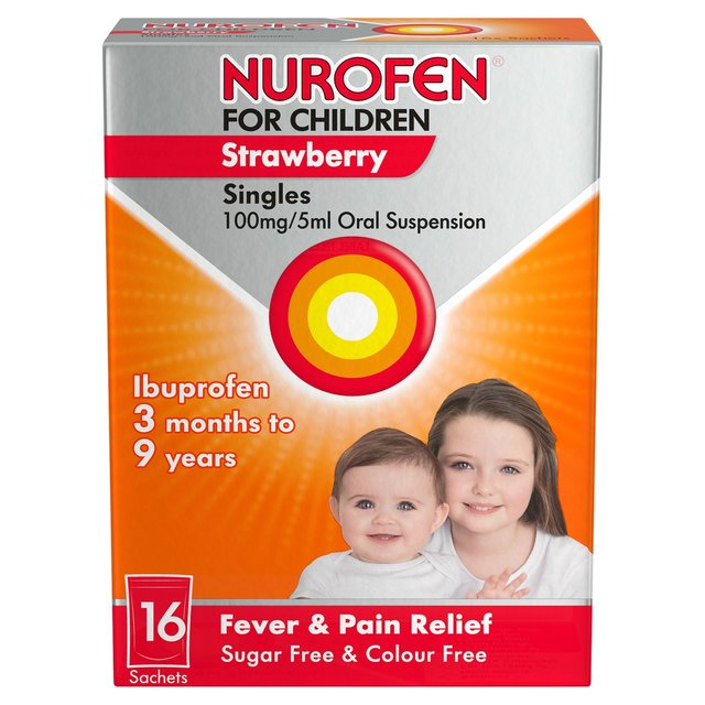 Nurofen for Children 100mg Sugar Free Sachets, Strawberry