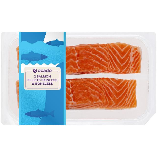 Ocado 2 Salmon Fillets Skinless & Boneless