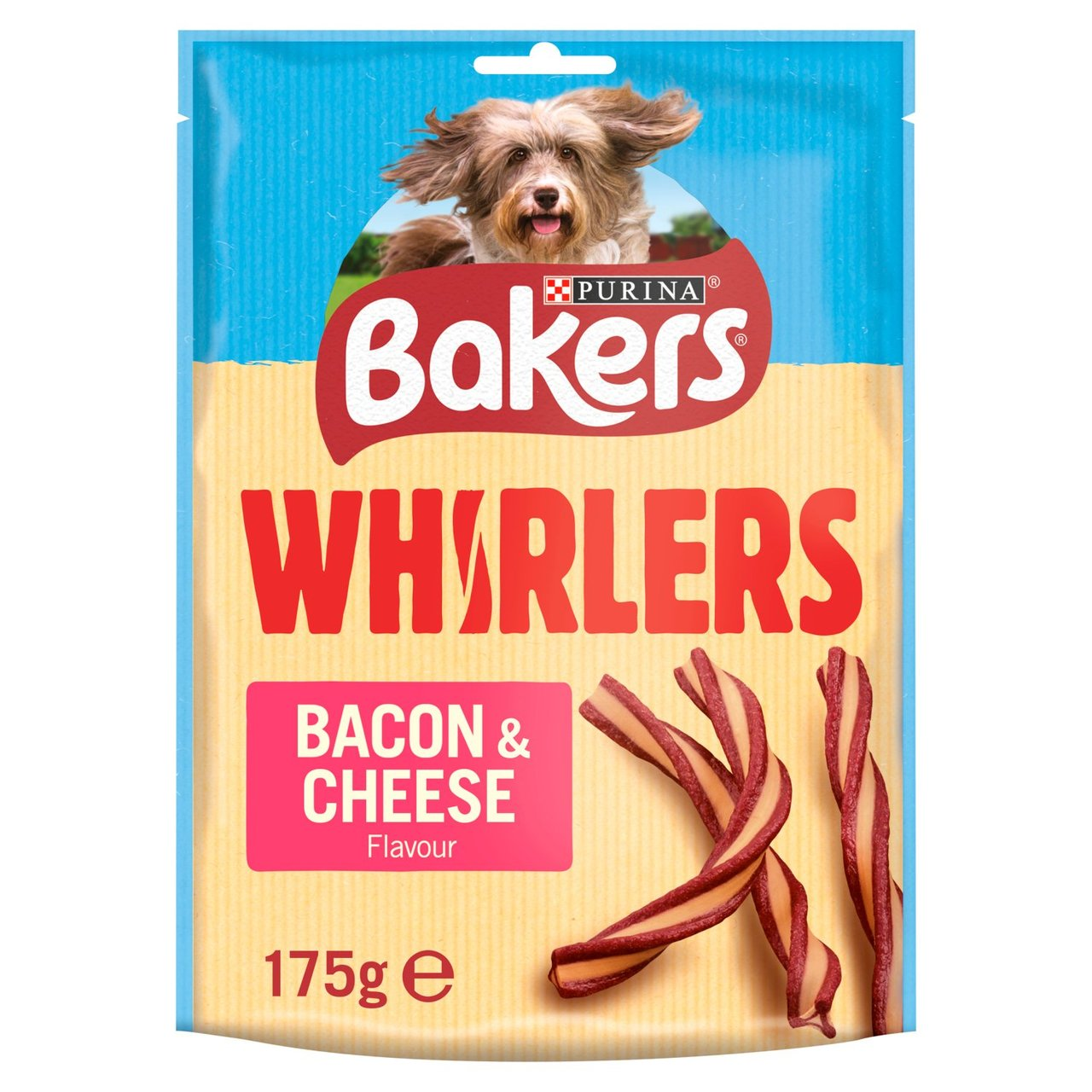 An image of Bakers Dog Treats Bacon & Cheese Whirlers