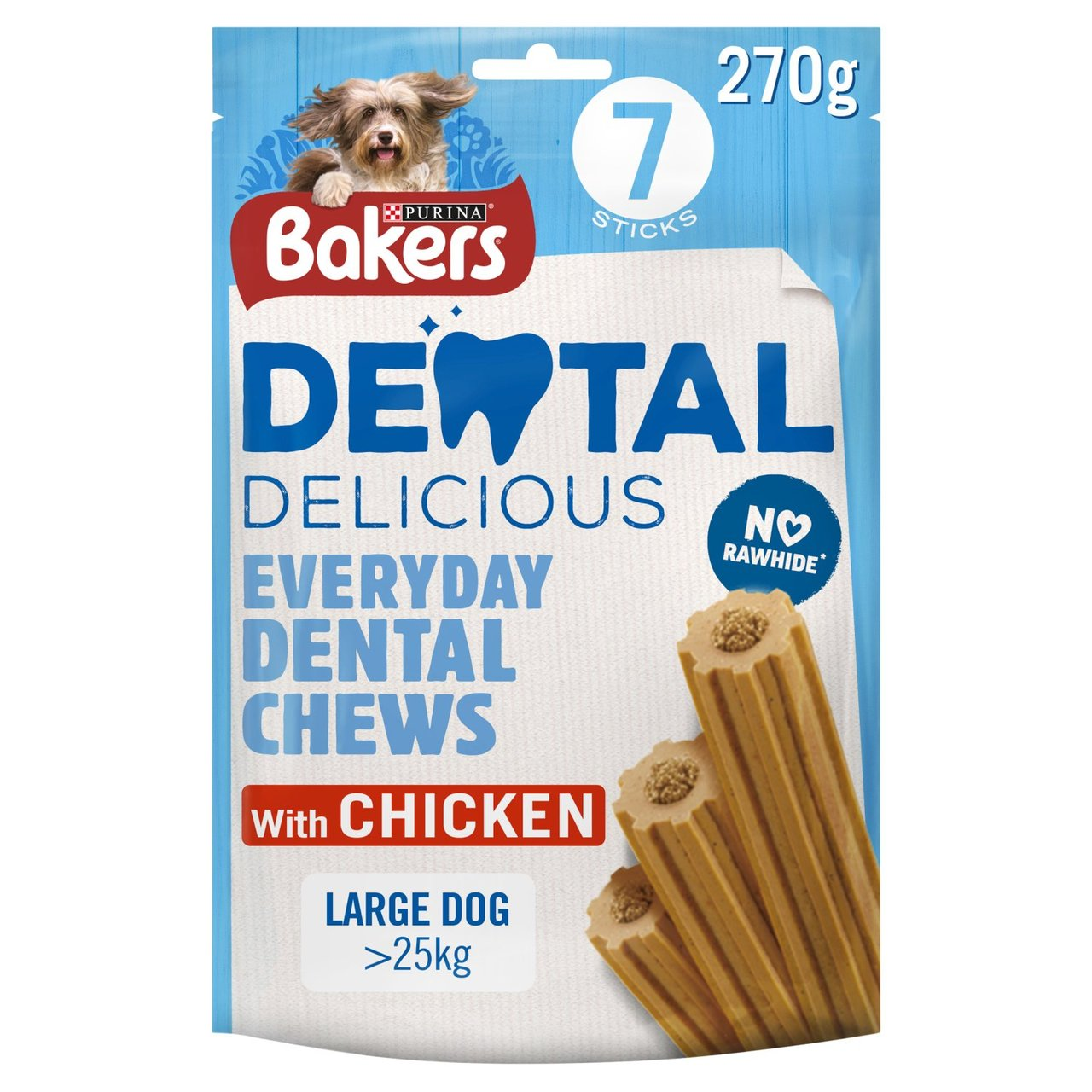 An image of Bakers Dental Delicious Large Dog Treats Chicken