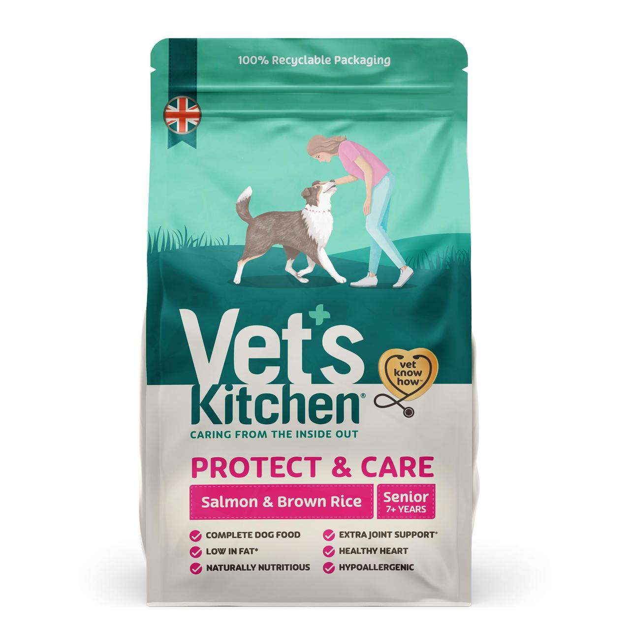 An image of Vets Kitchen Senior Dog Salmon & Brown Rice