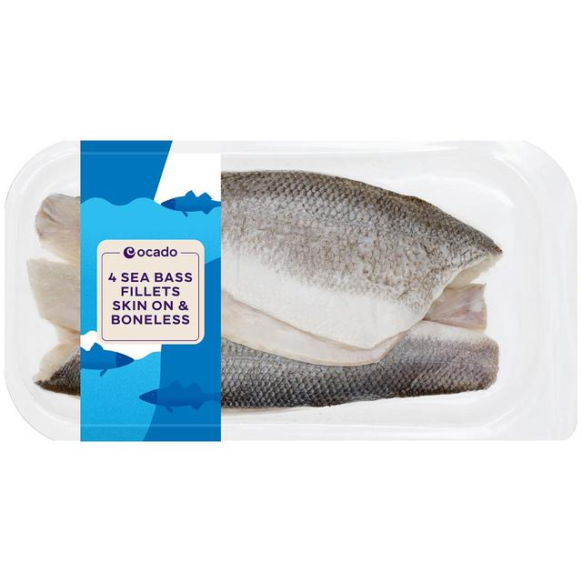 Ocado 4 Sea Bass Fillets Skin On & Boneless