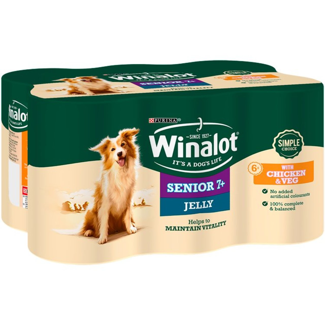 An image of Winalot 7+ Dog Food Chicken & Veg in Jelly
