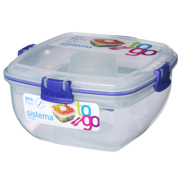Sistema Plastic Salad To Go Container 1.1L, Blue