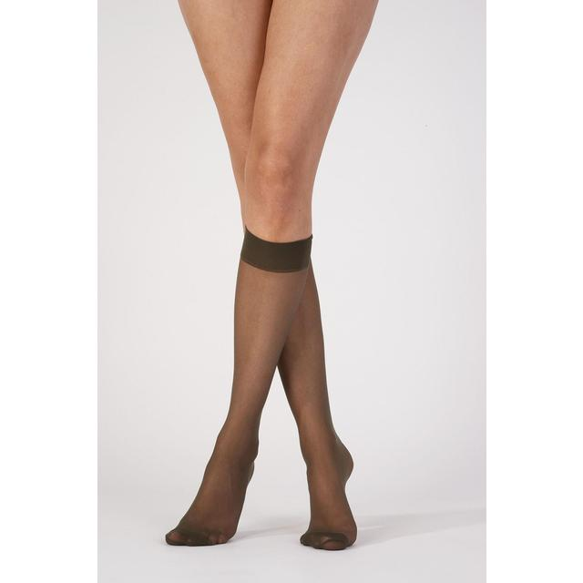 Pretty Polly 15D Silver Fresh Knee Highs, Barely Black OS