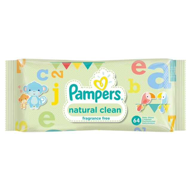 Pampers Natural Clean Unscented Baby Wipes