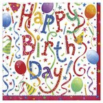 Happy Birthday 3ply Paper Napkins, 33cm