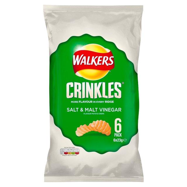 Walkers Crinkles Salt Malt Vinegar Crisps 5 X 28g