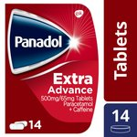 Panadol Extra Advance 500mg Paracetamol Caffeine Pain Relief Tablets