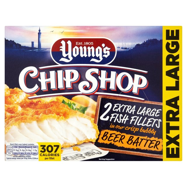 Young's Chip Shop 2 Extra Large Beer Battered Fish Filllets Frozen