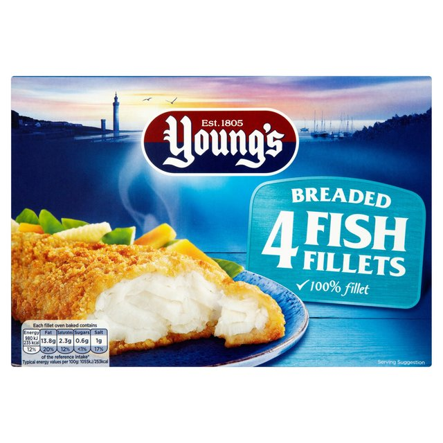 Young 39 s 4 breaded fish fillets frozen 400g from ocado for How to make breaded fish
