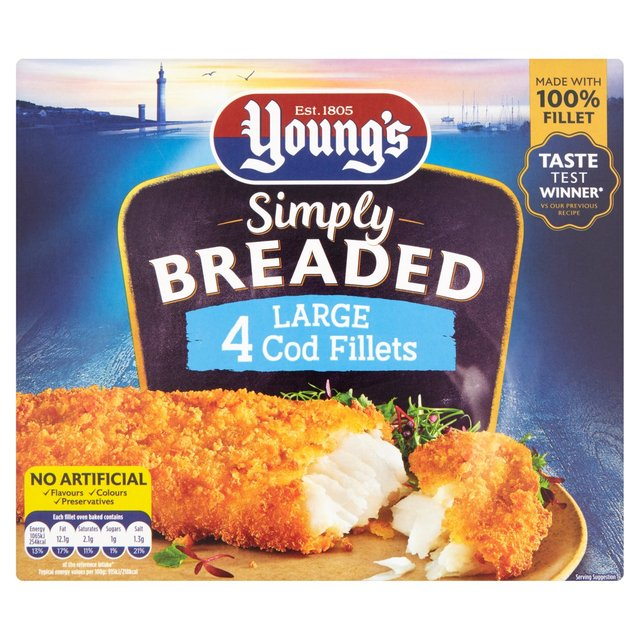 Young 39 s 4 large breaded cod fillets frozen 480g from ocado for Best frozen fish fillets