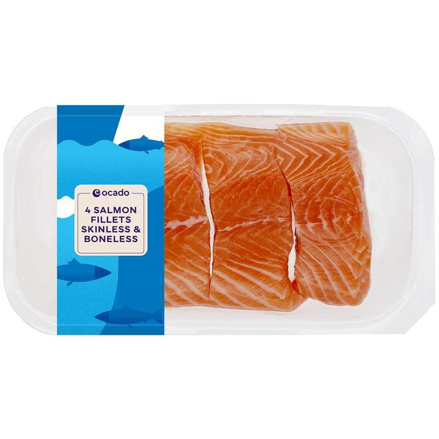 Ocado 4 Salmon Fillets Skin On & Boneless