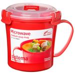 Sistema Plastic Microwave Soup Mug 656ml, Red