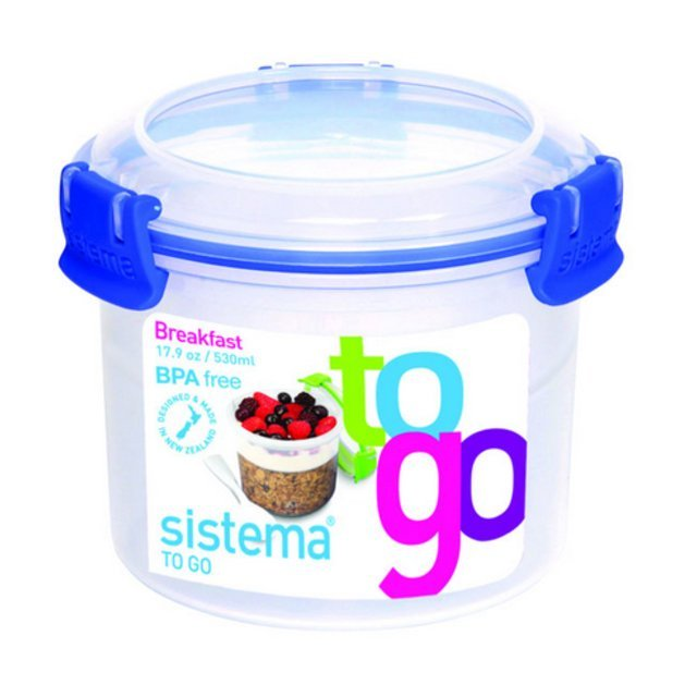 Sistema Plastic Breakfast To Go Container 530ml, Assorted Colours