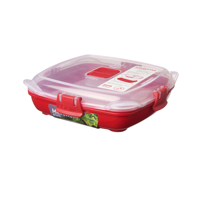 Sistema Plastic Microwave Plate 400ml, Red