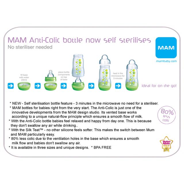 Mam Anti Colic Self Sterilising Bottle 260ml Pink Amp Green