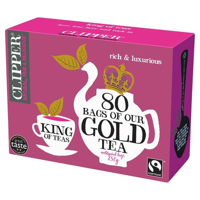 clipper gold tea bags 80 per pack from ocado. Black Bedroom Furniture Sets. Home Design Ideas