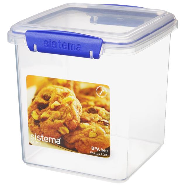 Sistema Klip It Rectangular Plastic Biscuit Box 2.35L, Blue