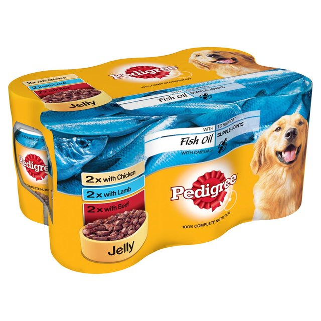 Pedigree Dog Tins Meat Fish Oil in Jelly