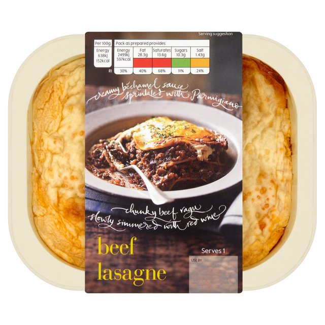 Menu from Waitrose Beef Lasagne