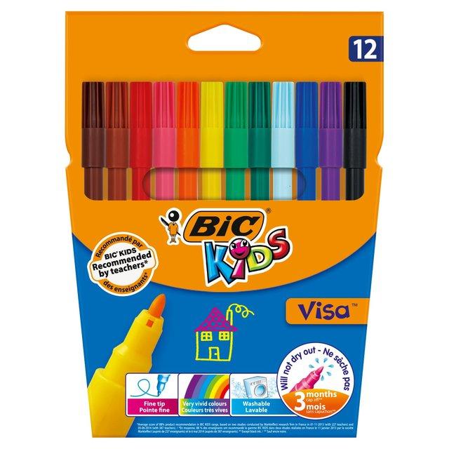 bic kids visa felt tip pens assorted colours 12 per pack from ocado