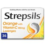 Strepsils Orange Lozenges with Vitamin C