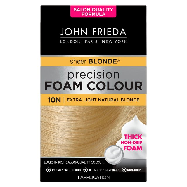 Our hair colour foam locks in salon-quality colour, freshness & protects from heat damage. Precision Foam Colour serves all hair shades. Available at John Frieda.