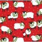 Festive Flock Red Christmas Napkins