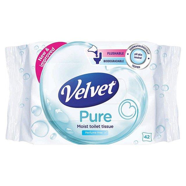 Velvet Pure Moist Toilet Tissue Perfume Free 42 Per Pack