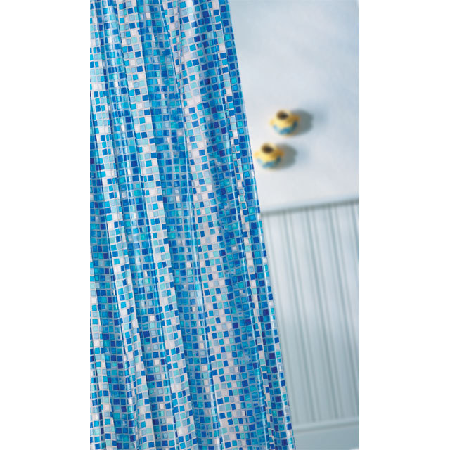 Croydex Mosaic PVC Shower Curtain Blue