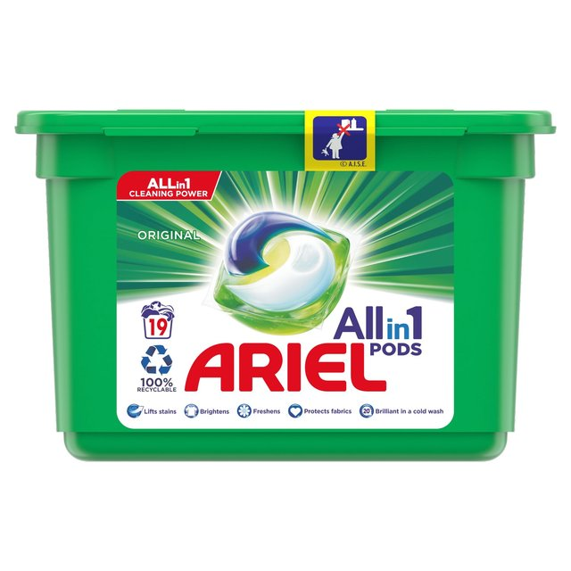 Ariel Bio 3in1 Washing Capsules 19 Per Pack From Ocado