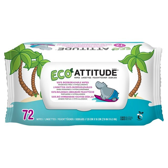 72 per pack x 3 Attitude 100/% Biodegradable Baby Wipes