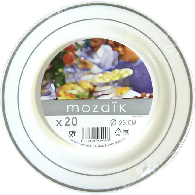 Mozaik Plastic Round Plates White with Silver Rim 23cm  sc 1 st  Ocado & Mozaik Plastic Round Plates White with Silver Rim 23cm 20 per pack ...