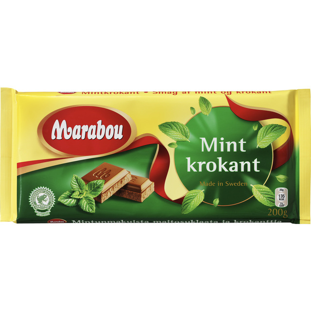 marabou mintkrokant milk chocolate with mint crisp 200g from ocado. Black Bedroom Furniture Sets. Home Design Ideas