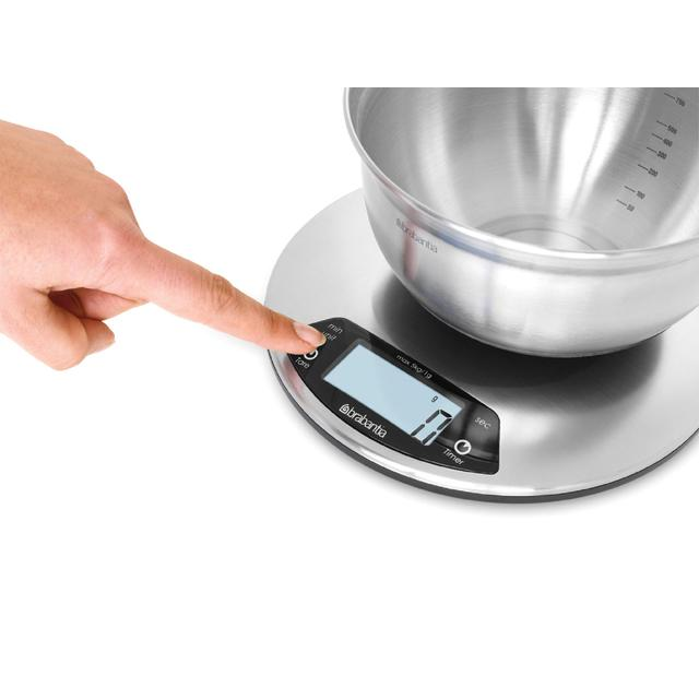 brabantia matt steel digital kitchen scales round - Digital Kitchen Scale