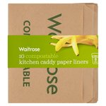 Waitrose 10 Compostable Kitchen Caddy Paper Liners
