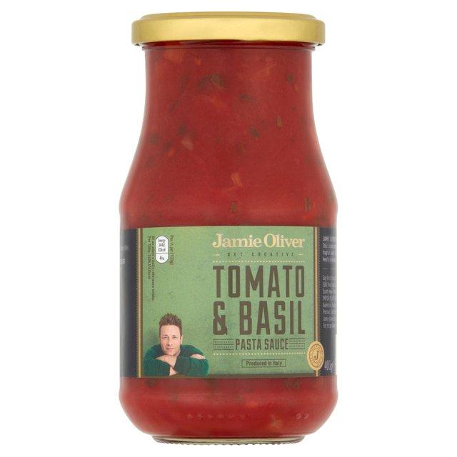 jamie oliver tomato basil pasta sauce 400g from ocado. Black Bedroom Furniture Sets. Home Design Ideas