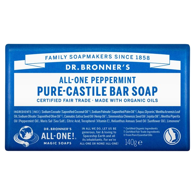 dr bronner peppermint soap bar 140g from ocado. Black Bedroom Furniture Sets. Home Design Ideas