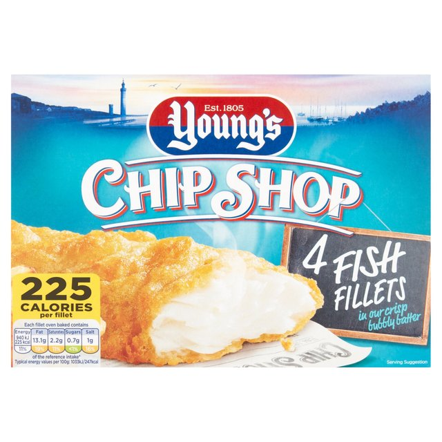Young 39 s chip shop 4 battered fish fillets frozen 400g from for Best frozen fish to buy at grocery store