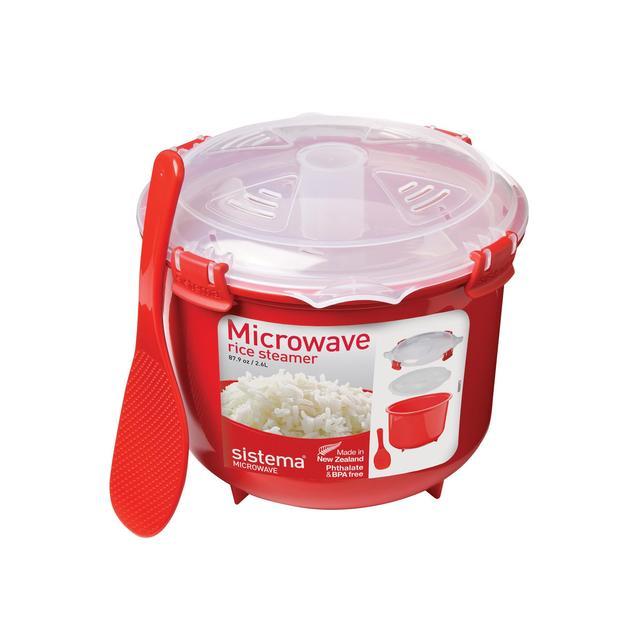 Sistema Plastic Microwave Rice Steamer 2.6L, Red From Ocado