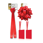 Scarlet Satin Gift  Ribbon, Bow & Tags Pack