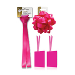 Fuchsia Satin Gift  Ribbon, Bow & Tags Pack