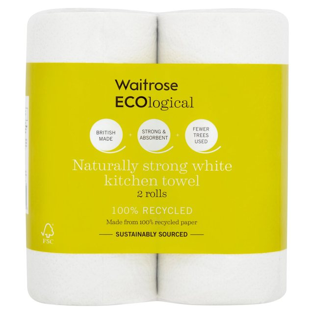 Waitrose ECOlogical White Kitchen Towels Recycled