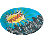 Ginger Pop Art Superhero Party Paper Plates