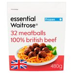 Essential Waitrose Frozen British Beef Meatballs